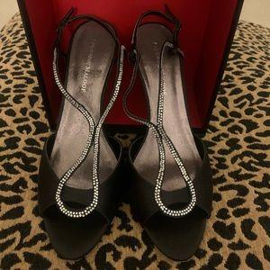 Adrienne Maloof black heels with crystal stones.